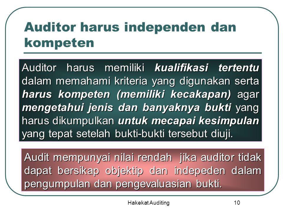 Hakekat Auditing 10 Auditor harus independen dan kompeten Auditor harus memiliki kualifikasi tertentu dalam memahami kriteria yang digunakan serta har