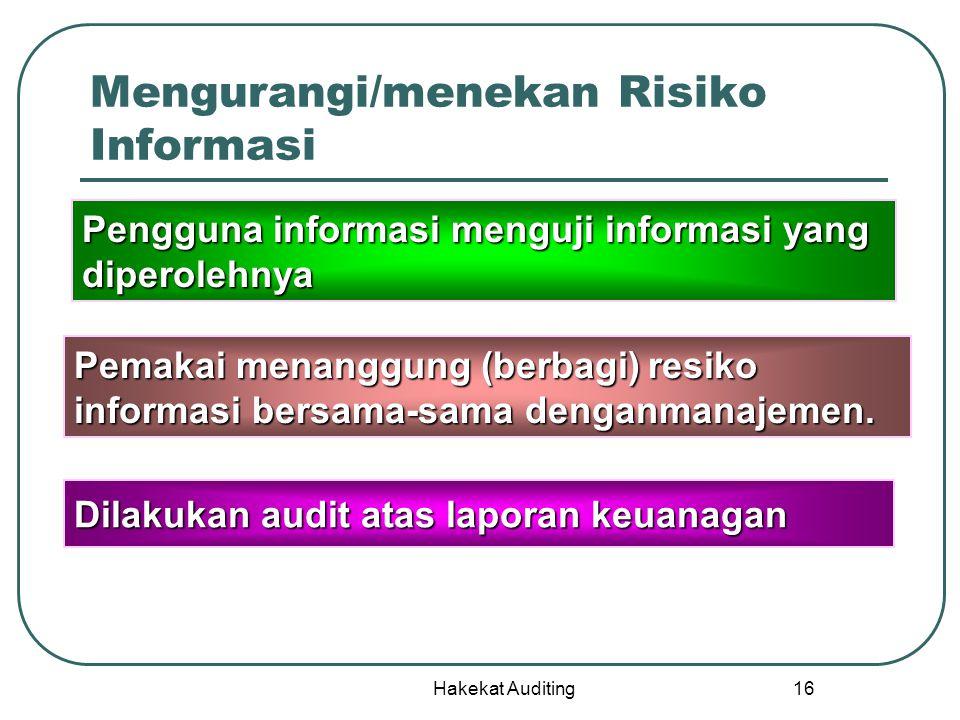 Hakekat Auditing 16 Mengurangi/menekan Risiko Informasi Pengguna informasi menguji informasi yang diperolehnya Pemakai menanggung (berbagi)resiko info
