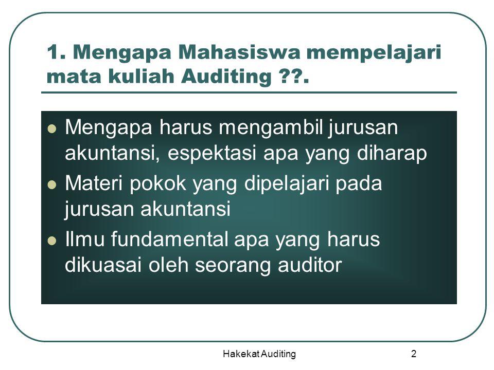 Hakekat Auditing 2 1. Mengapa Mahasiswa mempelajari mata kuliah Auditing ??. Mengapa harus mengambil jurusan akuntansi, espektasi apa yang diharap Mat