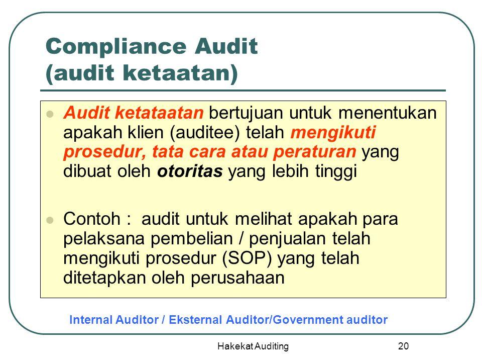 Hakekat Auditing 20 Compliance Audit (audit ketaatan) Audit ketataatan bertujuan untuk menentukan apakah klien (auditee) telah mengikuti prosedur, tat