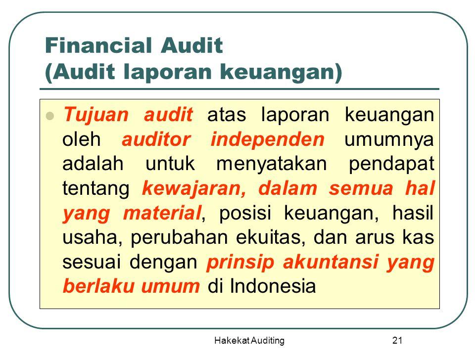 Hakekat Auditing 21 Financial Audit (Audit laporan keuangan) Tujuan audit atas laporan keuangan oleh auditor independen umumnya adalah untuk menyataka