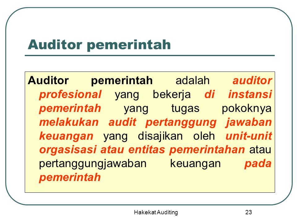 Hakekat Auditing 23 Auditor pemerintah Auditor pemerintah adalah auditor profesional yang bekerja di instansi pemerintah yang tugas pokoknya melakukan