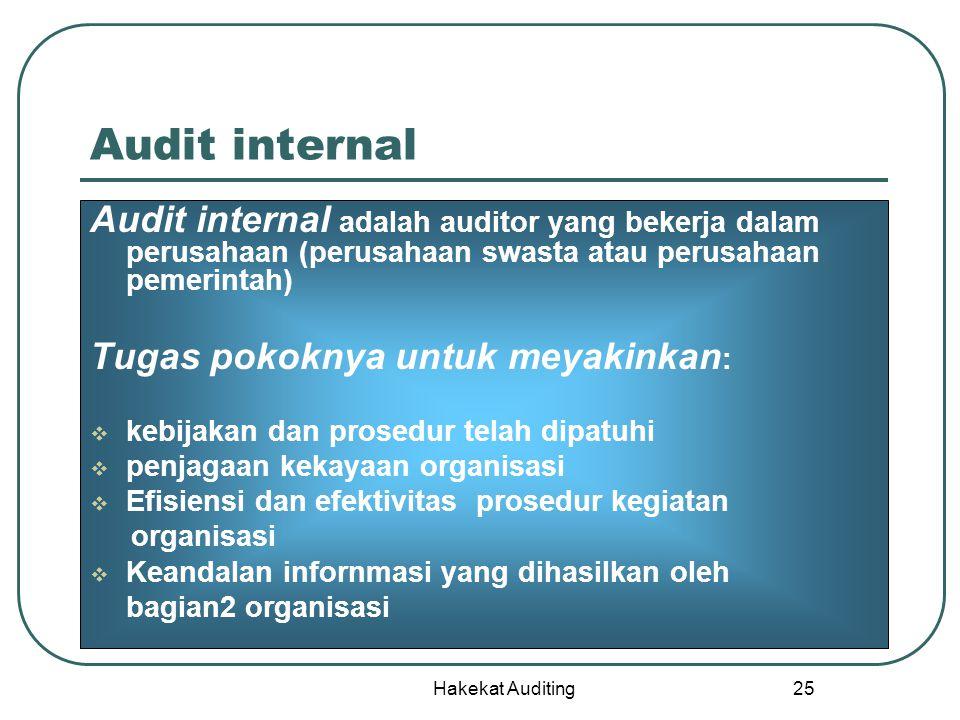 Hakekat Auditing 25 Audit internal Audit internal adalah auditor yang bekerja dalam perusahaan (perusahaan swasta atau perusahaan pemerintah) Tugas po