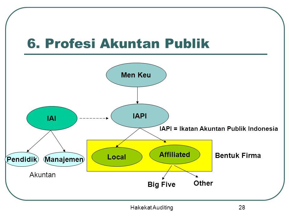 Hakekat Auditing 28 6. Profesi Akuntan Publik Men Keu IAPI Local Affiliated Big Five Other IAI PendidikManajemen Bentuk Firma Akuntan IAPI = Ikatan Ak