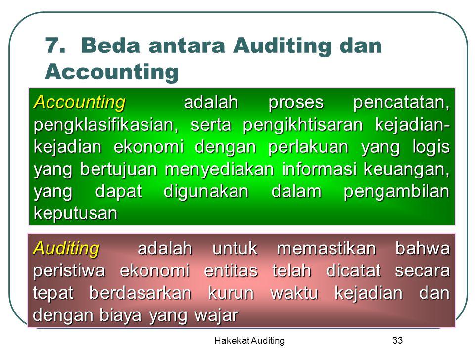 Hakekat Auditing 33 7. Beda antara Auditing dan Accounting Accounting adalah proses pencatatan, pengklasifikasian, serta pengikhtisaran kejadian- keja