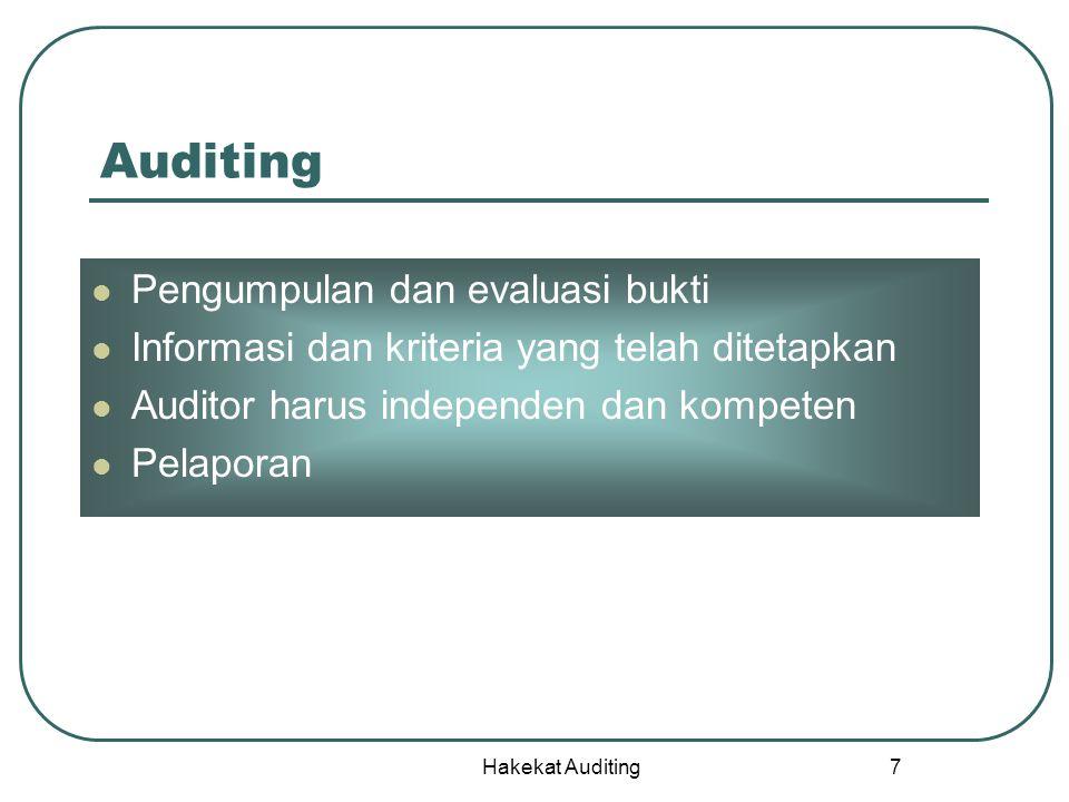 Hakekat Auditing 8 Pengumpulan dan evaluasi bukti Bukti-bukti adalah informasi yang digunakan oleh Auditor untuk menentukan apakah informasi yang diperiksa telah sesuai dengan kriteria yang ditetapkan Bukti Laporan keuangan Bukti-bukti SAK Informasi Kriteria