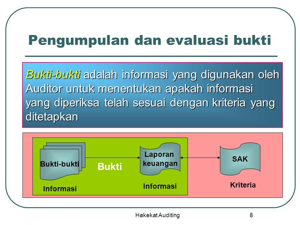 Hakekat Auditing 8 Pengumpulan dan evaluasi bukti Bukti-bukti adalah informasi yang digunakan oleh Auditor untuk menentukan apakah informasi yang dipe