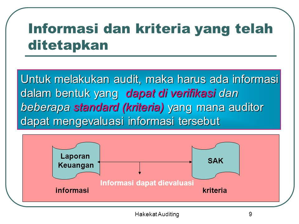 Hakekat Auditing 9 Informasi dan kriteria yang telah ditetapkan Untuk melakukan audit, maka harus ada informasi dalam bentuk yang dapat di verifikasi