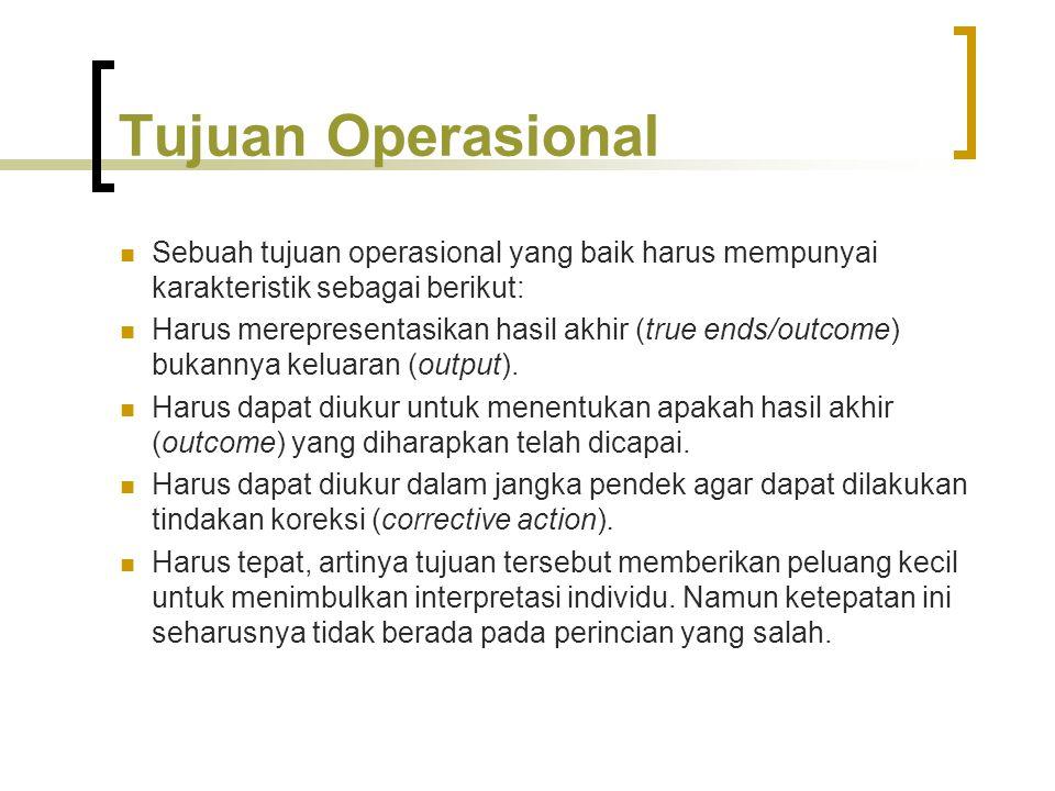 Tujuan Operasional Sebuah tujuan operasional yang baik harus mempunyai karakteristik sebagai berikut: Harus merepresentasikan hasil akhir (true ends/o