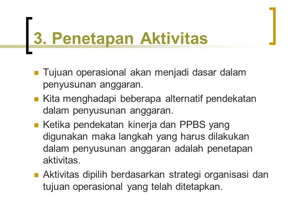 3. Penetapan Aktivitas Tujuan operasional akan menjadi dasar dalam penyusunan anggaran. Kita menghadapi beberapa alternatif pendekatan dalam penyusuna