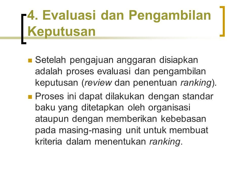 4. Evaluasi dan Pengambilan Keputusan Setelah pengajuan anggaran disiapkan adalah proses evaluasi dan pengambilan keputusan (review dan penentuan rank