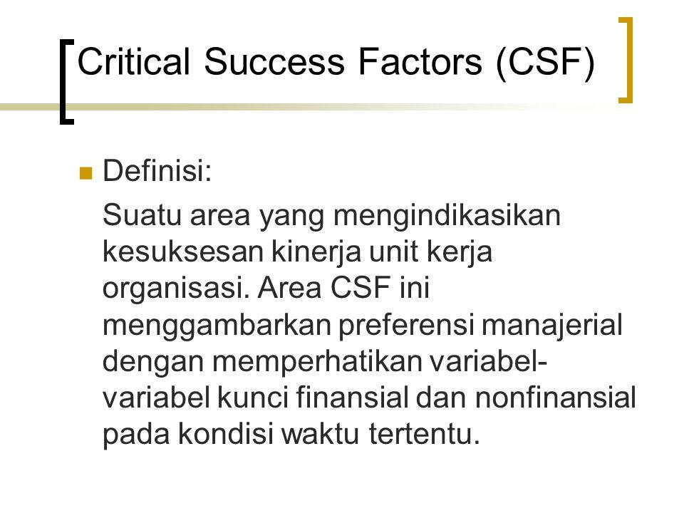 Critical Success Factors (CSF) Definisi: Suatu area yang mengindikasikan kesuksesan kinerja unit kerja organisasi. Area CSF ini menggambarkan preferen