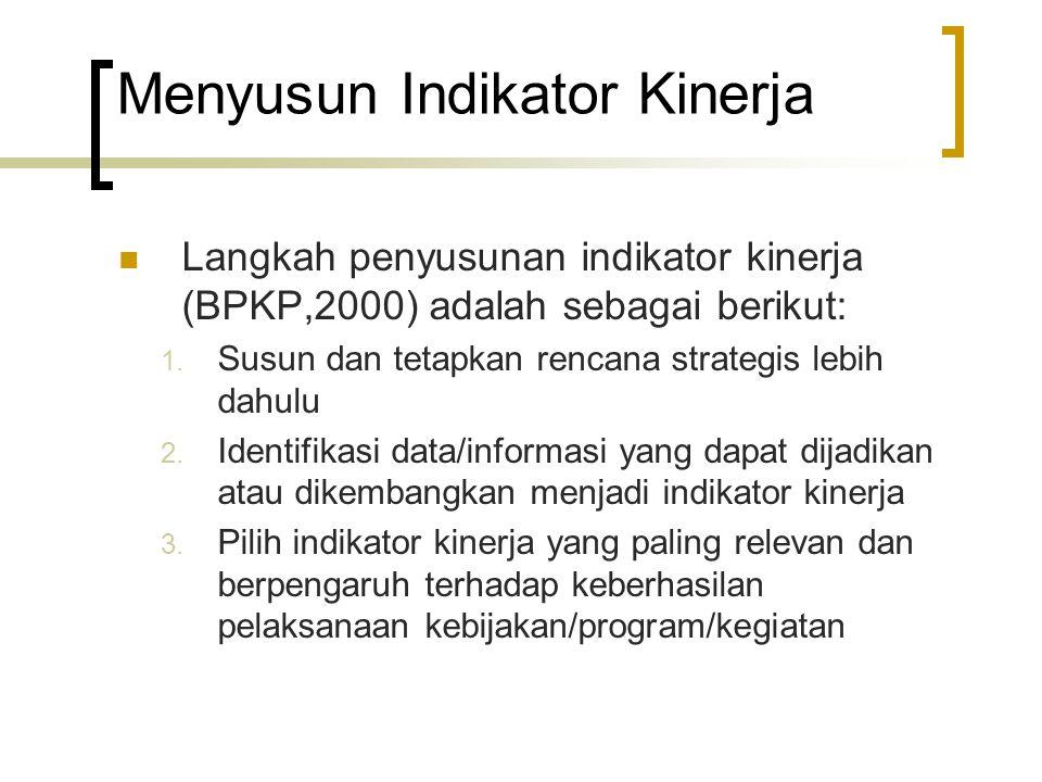 Menyusun Indikator Kinerja Langkah penyusunan indikator kinerja (BPKP,2000) adalah sebagai berikut: 1. Susun dan tetapkan rencana strategis lebih dahu