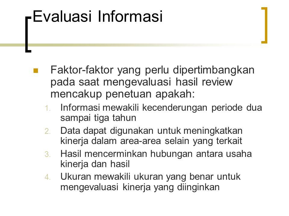 Evaluasi Informasi Faktor-faktor yang perlu dipertimbangkan pada saat mengevaluasi hasil review mencakup penetuan apakah: 1. Informasi mewakili kecend