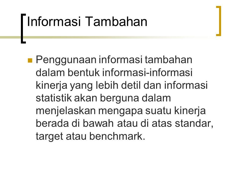 Informasi Tambahan Penggunaan informasi tambahan dalam bentuk informasi-informasi kinerja yang lebih detil dan informasi statistik akan berguna dalam