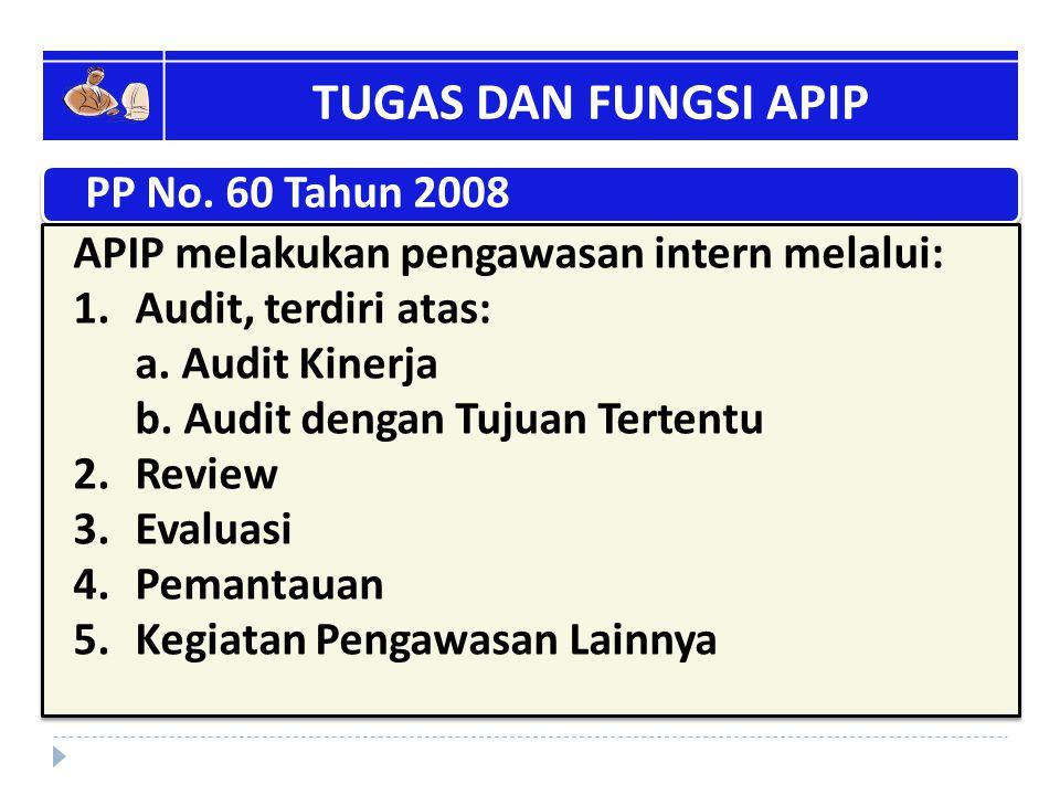TUGAS DAN FUNGSI APIP PP No. 60 Tahun 2008 APIP melakukan pengawasan intern melalui: 1.Audit, terdiri atas: a. Audit Kinerja b. Audit dengan Tujuan Te