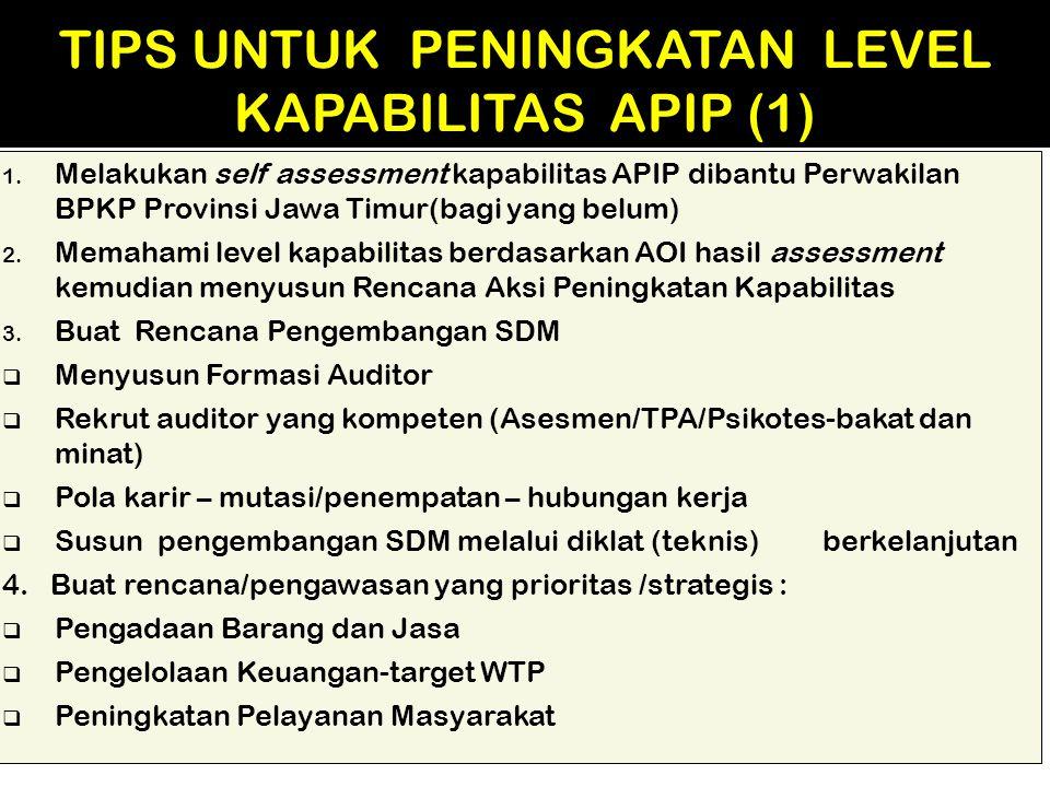 1. Melakukan self assessment kapabilitas APIP dibantu Perwakilan BPKP Provinsi Jawa Timur(bagi yang belum) 2. Memahami level kapabilitas berdasarkan A