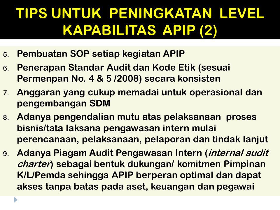5. Pembuatan SOP setiap kegiatan APIP 6. Penerapan Standar Audit dan Kode Etik (sesuai Permenpan No. 4 & 5 /2008) secara konsisten 7. Anggaran yang cu