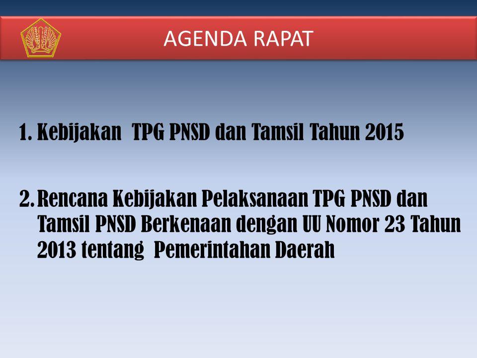 AGENDA RAPAT 1.Kebijakan TPG PNSD dan Tamsil Tahun 2015 2.Rencana Kebijakan Pelaksanaan TPG PNSD dan Tamsil PNSD Berkenaan dengan UU Nomor 23 Tahun 2013 tentang Pemerintahan Daerah