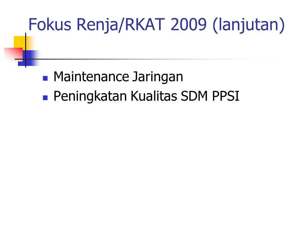 Fokus Renja/RKAT 2009 (lanjutan) Maintenance Jaringan Peningkatan Kualitas SDM PPSI