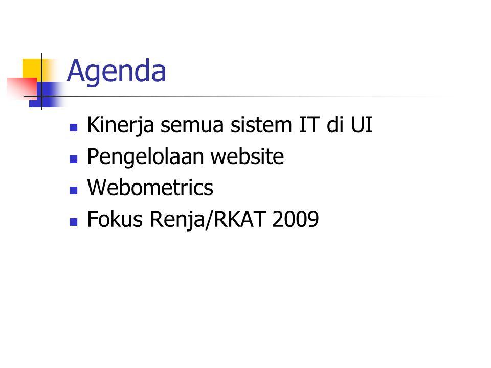 Agenda Kinerja semua sistem IT di UI Pengelolaan website Webometrics Fokus Renja/RKAT 2009