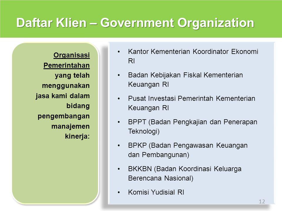Daftar Klien – Government Organization 12 Kantor Kementerian Koordinator Ekonomi RI Badan Kebijakan Fiskal Kementerian Keuangan RI Pusat Investasi Pem