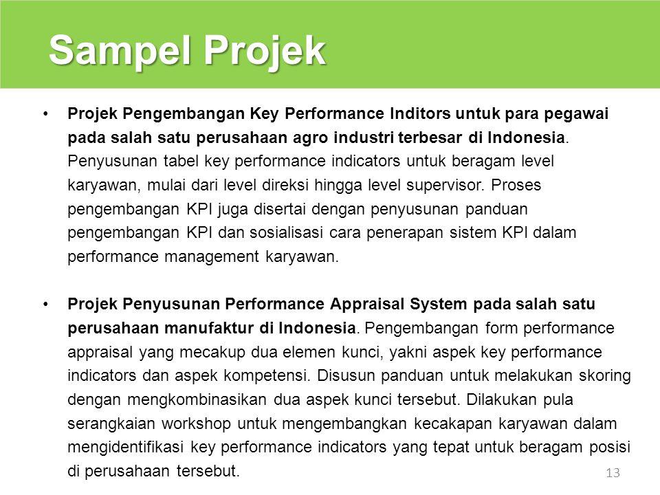 Sampel Projek 13 Projek Pengembangan Key Performance Inditors untuk para pegawai pada salah satu perusahaan agro industri terbesar di Indonesia. Penyu