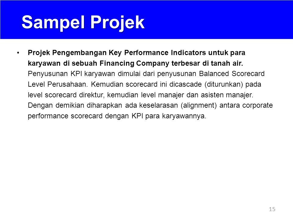 Sampel Projek 15 Projek Pengembangan Key Performance Indicators untuk para karyawan di sebuah Financing Company terbesar di tanah air. Penyusunan KPI