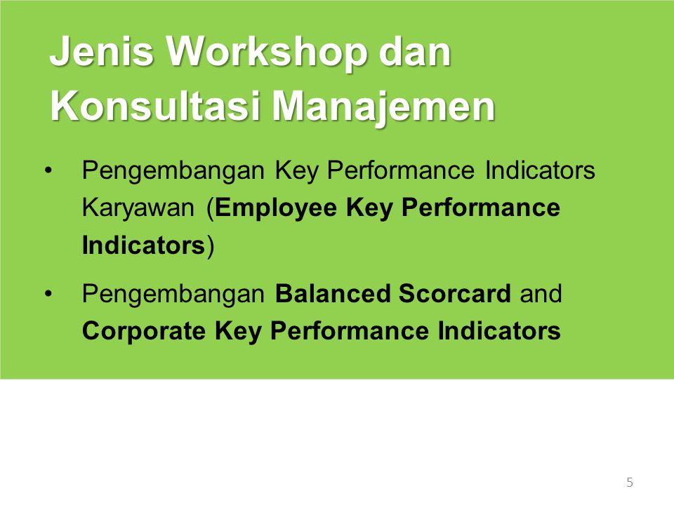 6 Konsultasi/Workshop Pengembangan Key Performance Indicators Karyawan Penilaian kinerja karyawan acapkali dihadapkan pada problem subyektivitas karena tidak adanya indikator kinerja yang terukur dan obyektif.