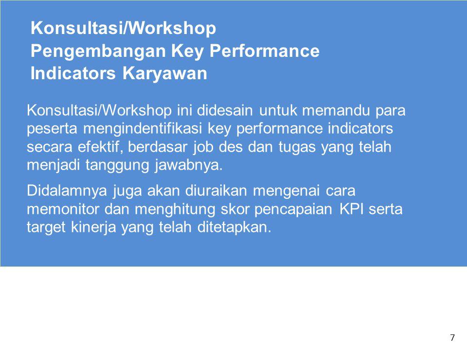 8 Konsultasi/Workshop Pengembangan Key Performance Indicators Karyawan Dalam workshop/konsultasi ini juga akan diberikan katalog KPI untuk beragam fungsi yang ada dalam perusahaan (Produksi, HR, IT, Finance, Marketing, dll)