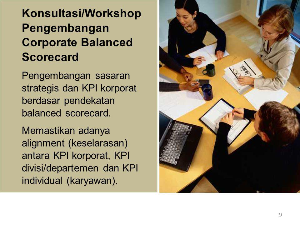 10 Konsultasi/Workshop Pengembangan Corporate Balanced Scorecard Dalam workshop/konsultasi akan diberikan contoh strategy map dan balanced scorecard dari sejumlah organisasi/perusahaan kelas dunia.