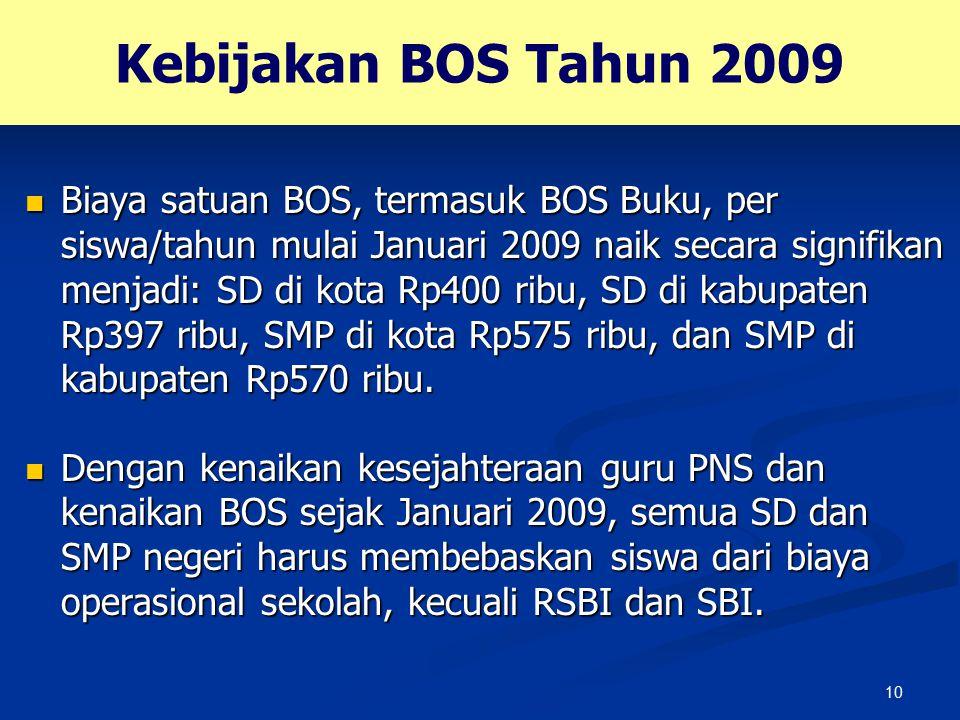 10 Kebijakan BOS Tahun 2009 Biaya satuan BOS, termasuk BOS Buku, per siswa/tahun mulai Januari 2009 naik secara signifikan menjadi: SD di kota Rp400 r