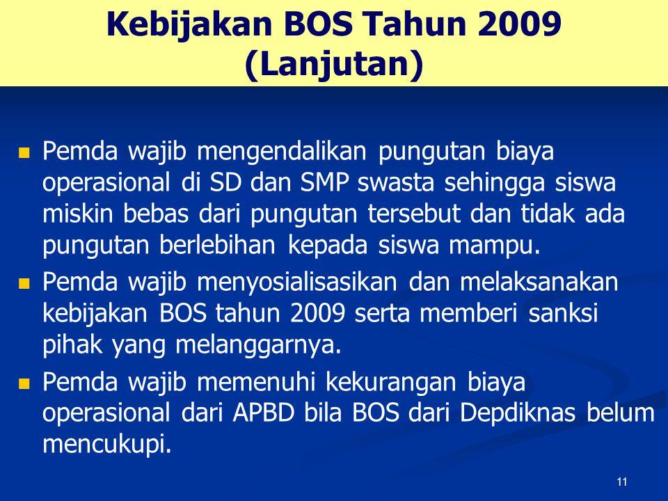 11 Kebijakan BOS Tahun 2009 (Lanjutan) Pemda wajib mengendalikan pungutan biaya operasional di SD dan SMP swasta sehingga siswa miskin bebas dari pung
