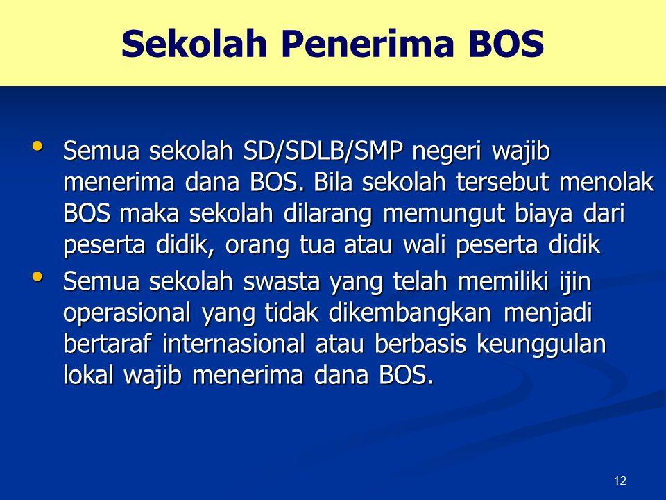12 Sekolah Penerima BOS Semua sekolah SD/SDLB/SMP negeri wajib menerima dana BOS. Bila sekolah tersebut menolak BOS maka sekolah dilarang memungut bia