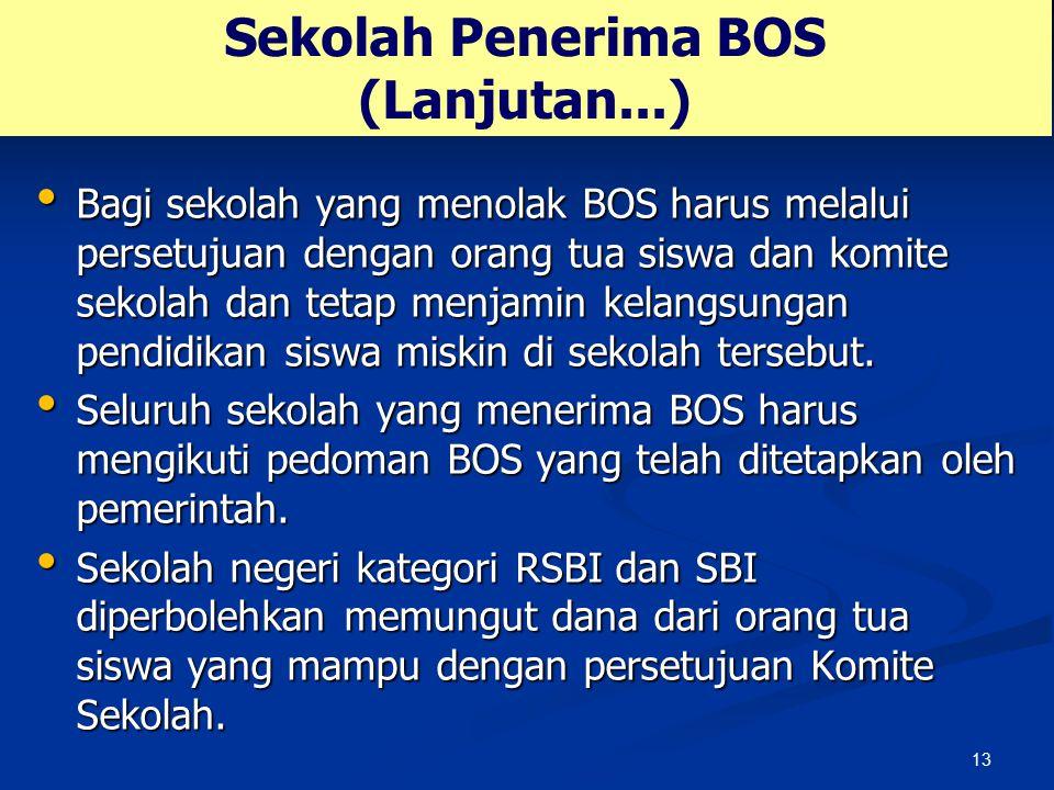 13 Sekolah Penerima BOS (Lanjutan...) Bagi sekolah yang menolak BOS harus melalui persetujuan dengan orang tua siswa dan komite sekolah dan tetap menj