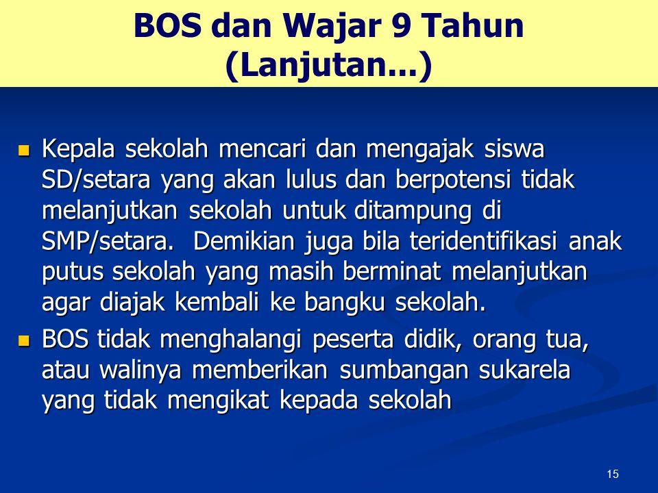 15 BOS dan Wajar 9 Tahun (Lanjutan...) Kepala sekolah mencari dan mengajak siswa SD/setara yang akan lulus dan berpotensi tidak melanjutkan sekolah un