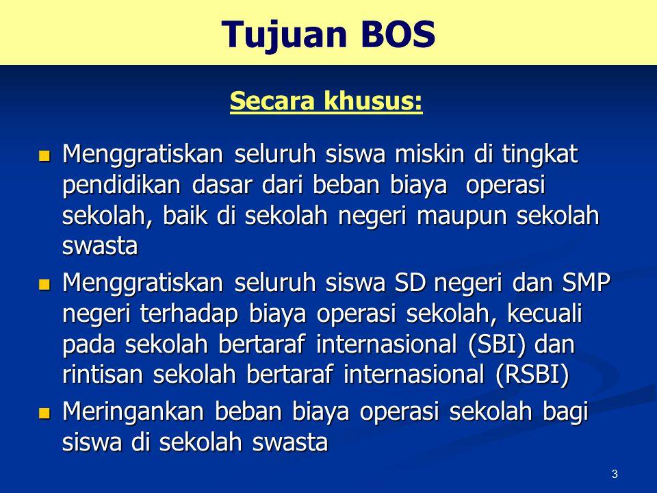 4 Sasaran Sasaran program BOS adalah semua sekolah setingkat SD dan SMP (termasuk SMPT), baik negeri maupun swasta di seluruh propinsi di Indonesia.