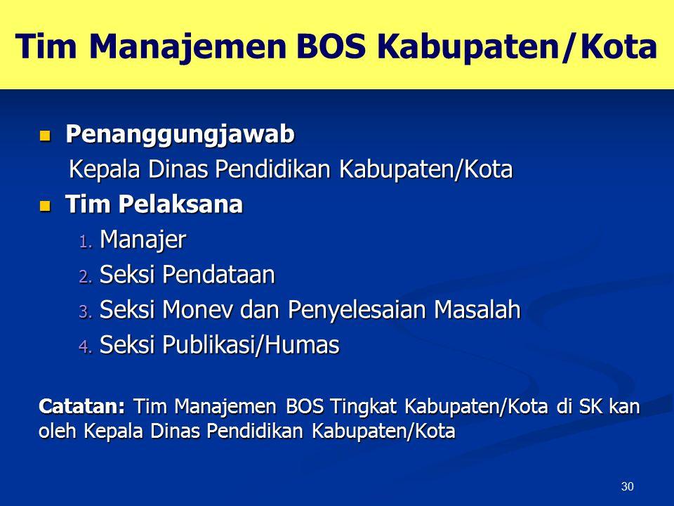 30 Tim Manajemen BOS Kabupaten/Kota Penanggungjawab Penanggungjawab Kepala Dinas Pendidikan Kabupaten/Kota Kepala Dinas Pendidikan Kabupaten/Kota Tim