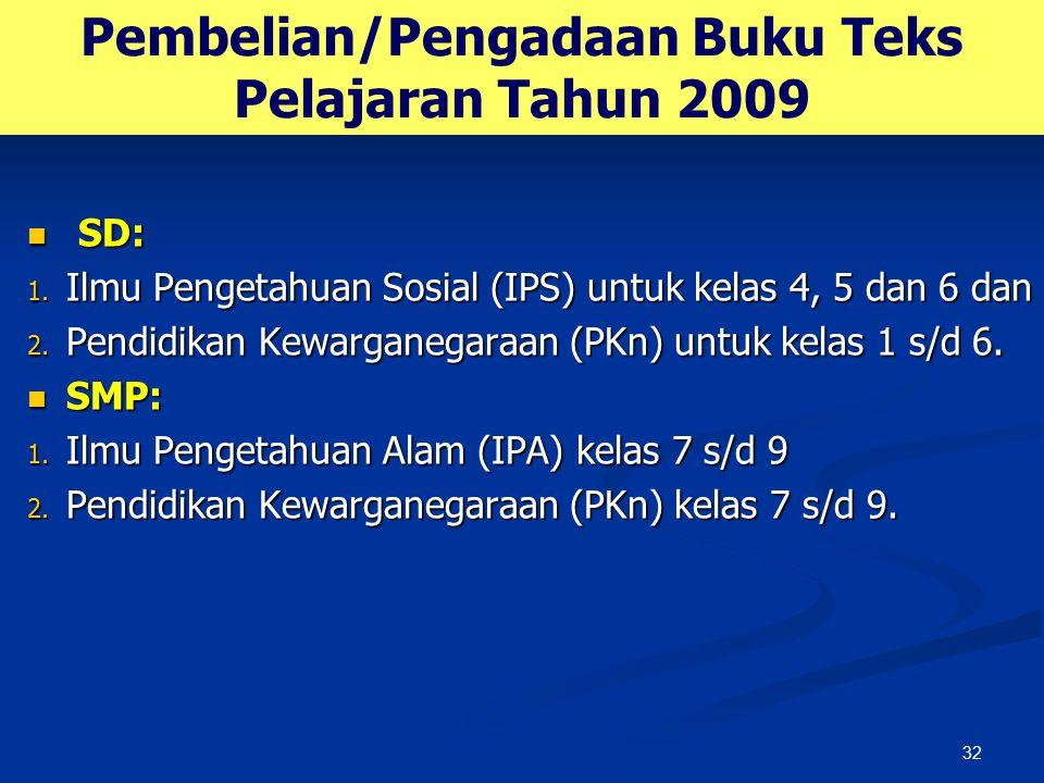 32 Pembelian/Pengadaan Buku Teks Pelajaran Tahun 2009 SD: SD: 1. Ilmu Pengetahuan Sosial (IPS) untuk kelas 4, 5 dan 6 dan 2. Pendidikan Kewarganegaraa