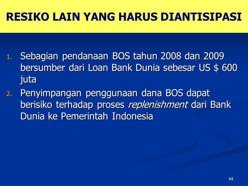44 RESIKO LAIN YANG HARUS DIANTISIPASI 1. Sebagian pendanaan BOS tahun 2008 dan 2009 bersumber dari Loan Bank Dunia sebesar US $ 600 juta 2. Penyimpan