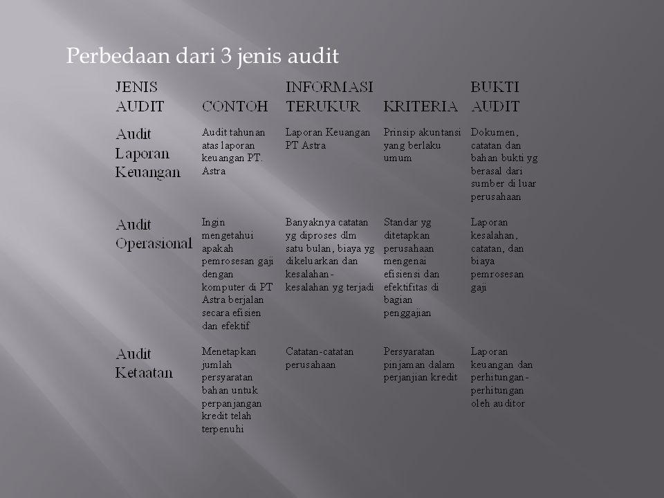 Perbedaan dari 3 jenis audit