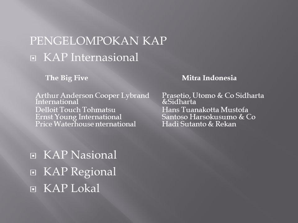 PENGELOMPOKAN KAP  KAP Internasional  KAP Nasional  KAP Regional  KAP Lokal The Big FiveMitra Indonesia Arthur Anderson Cooper Lybrand Internation