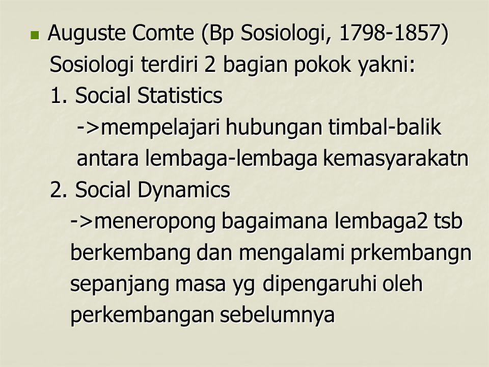 Auguste Comte (Bp Sosiologi, 1798-1857) Auguste Comte (Bp Sosiologi, 1798-1857) Sosiologi terdiri 2 bagian pokok yakni: Sosiologi terdiri 2 bagian pokok yakni: 1.