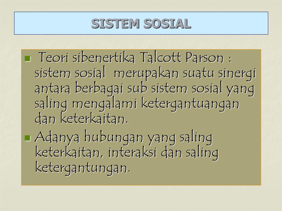 Teori sibenertika Talcott Parson : sistem sosial merupakan suatu sinergi antara berbagai sub sistem sosial yang saling mengalami ketergantuangan dan keterkaitan.