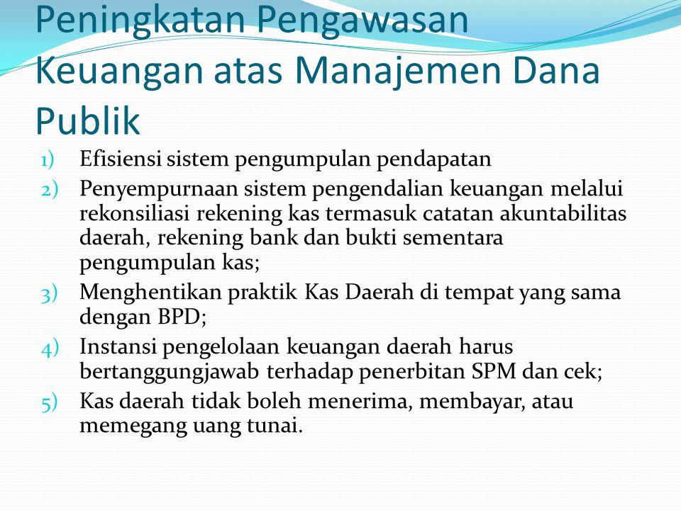 Peningkatan Pengawasan Keuangan atas Manajemen Dana Publik 1) Efisiensi sistem pengumpulan pendapatan 2) Penyempurnaan sistem pengendalian keuangan me