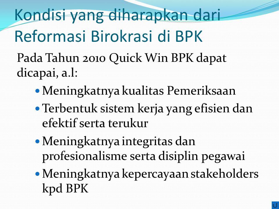 Kondisi yang diharapkan dari Reformasi Birokrasi di BPK Pada Tahun 2010 Quick Win BPK dapat dicapai, a.l: Meningkatnya kualitas Pemeriksaan Terbentuk sistem kerja yang efisien dan efektif serta terukur Meningkatnya integritas dan profesionalisme serta disiplin pegawai Meningkatnya kepercayaan stakeholders kpd BPK