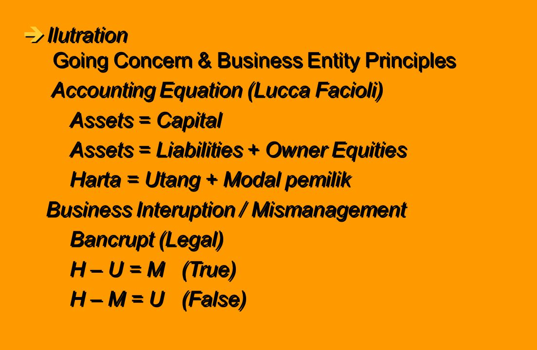 èIlutration Going Concern & Business Entity Principles Accounting Equation (Lucca Facioli) Assets = Capital Assets = Liabilities + Owner Equities Hart