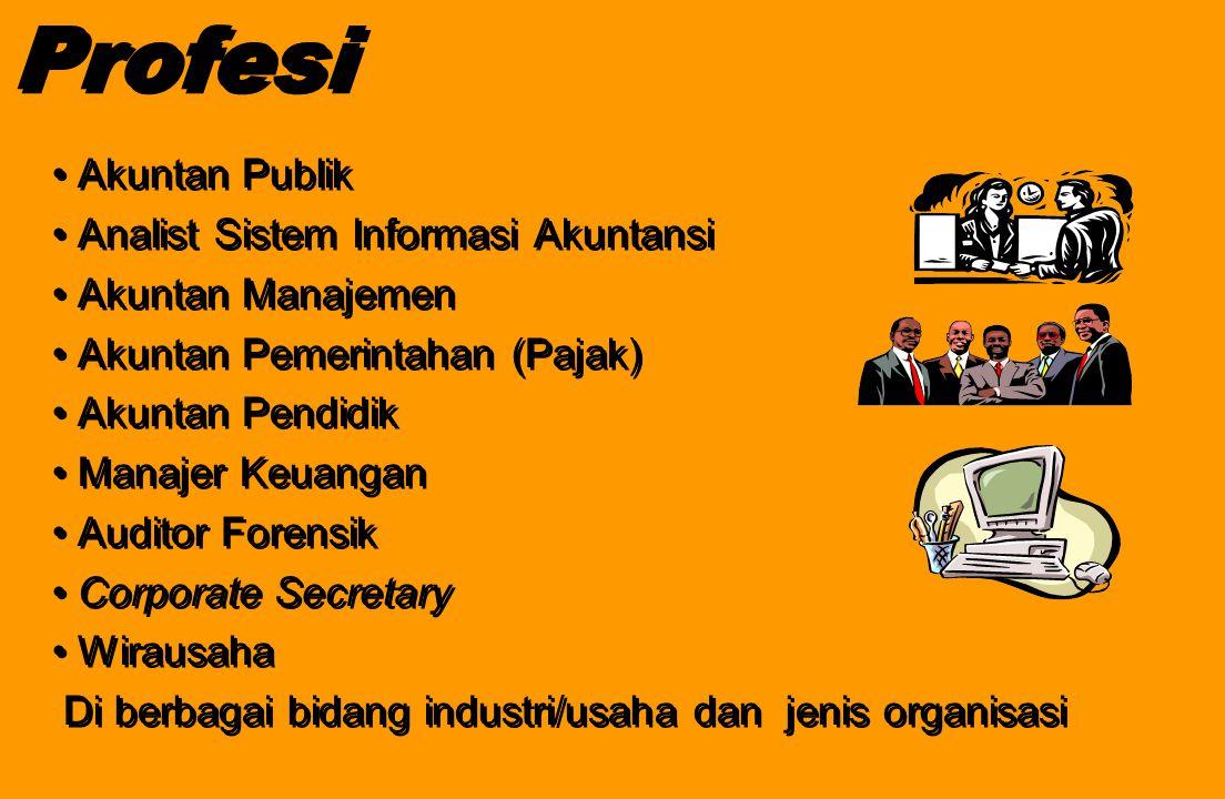 Profesi Akuntan Publik Analist Sistem Informasi Akuntansi Akuntan Manajemen Akuntan Pemerintahan (Pajak) Akuntan Pendidik Manajer Keuangan Auditor For