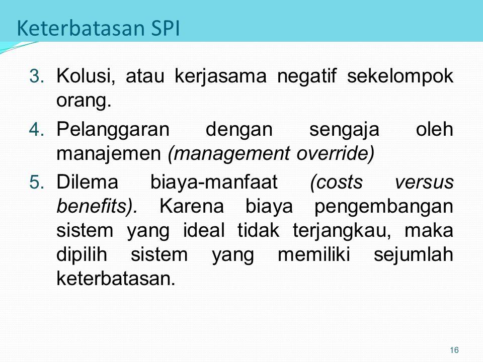 Keterbatasan SPI 1. Kekeliruan pengoperasian sistem (mistake in judgement). Kekeliruan disebabkan oleh keterbatasan kemampuan atau pemahaman pengguna