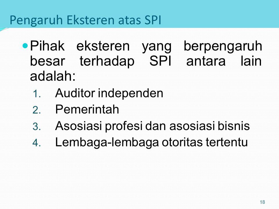 Penanggungjawab Utama SPI Penanggung jawab atas pelaksanaan SPI adalah Auditor Intern Penangungjawab atas kecukupan dan efektifitas SPI adalah: 1. Man